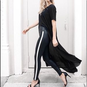 NEW SPANX Faux Leather Side Stripe Leggings LARGE